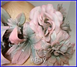 JACK McCONNELL VTG NWT Pink Straw Wide Brim Floral Hat