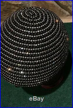 Jack McConnell Hat Brimless Rhinestone Beaded Glamorous 100% Wool Black 22