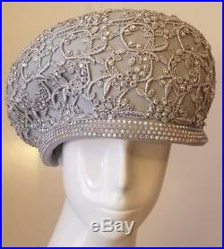 Jack McConnell Light Gray/Silver, Wool Hat withRhinestones/Floral Applique (L)