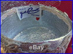 Jack McConnell Original Silver Hat with Veils & Rhinestones Red Feather OOAK