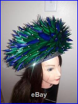 Jack McConnell VINTAGE HAT, Blue Brigh Green Feathers Rhinestones