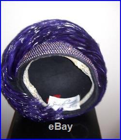 Jack McConnell VINTAGE HAT, Purple Feathers Rhinestones. BEAUTIFUL