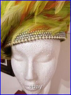 Jack McConnell Vin. Hat Lime, Orange, Cream. Feathers R-Stones Beautiful design