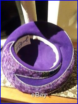 Jack McConnell Vintage Hat, PURPLE PEACOCK Feathers, Rhinestones