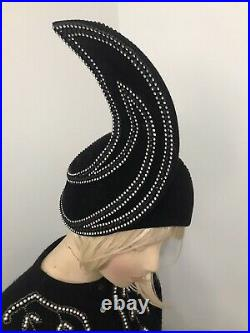 Jack McConnell Vintage Styled By Jack McConnell Black Rhinestone Red Feather Hat