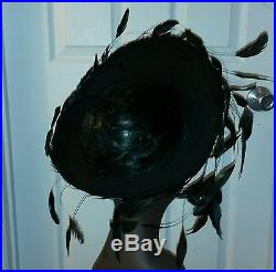 Jack Mcconnell Vintage Black Wool Feathers Brim Rhinestones $ Offer
