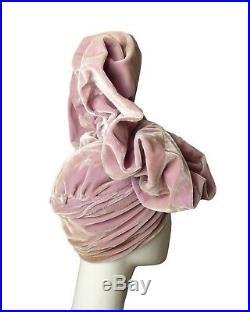 KENETH HOPKINS-1940s AMAZING Velvet Turban & Gloves