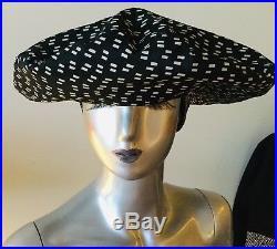 Kokin Designer Vintage Black & White Print Womens Hat