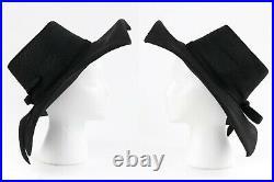 LILLY DACHE c. 1960s Black Straw Art Deco Wide Square Brim Sculptural Sun Hat NOS