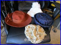 LOT OF 30 Vintage Ladies Hats & Hair Coverings Unique Mid Century FUR FLOWERS +
