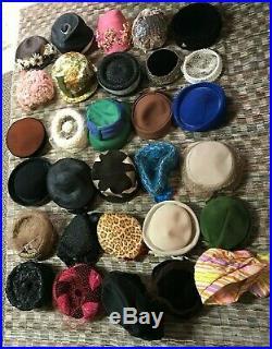 LOT OF 35 Vintage Ladies Hats 1940s-1950s Unique Costume Photo Shoot Occasion
