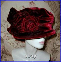 LUSH Silk Velvet Edwardian Cloche Hat w Bow Wrap SANDRA PHILLIPPS London 1990s L