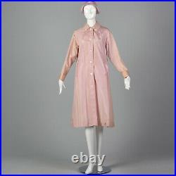 Large 1960s Pink Gingham Rain Jacket Matching Hat Vintage 60s Long Rain Jacket
