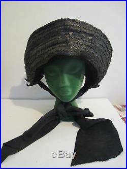 Large Antique Vintage Civil War era straw mourning HAT bonnet