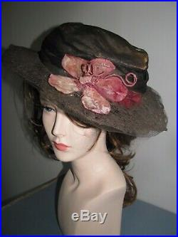 Large Edwardian Ladies Hat Antique Bronze Metallic Lace Pink Silk Velvet Flower