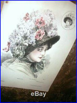 Large Orig 1909 PARIS Millinery COLOR Folio Hats w Patterns MODISTE UNIVERSALLE