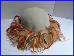 Large Vintage Christian Dior Chapeaux Feathered Hat with Original Plastic Shaper