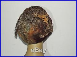 Late Edwardian 1920's s Boardwalk Empire Worn Feather Cloche MED