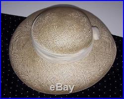 Laura Ashley Vintage Natural-Cream Natural Straw Silk Wrap Summer Hat, One Size