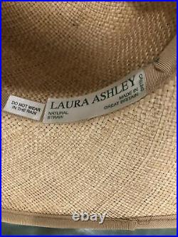 Laura Ashley Vintage Straw Sun Hat With Ribbon/Bow One Size Perfect Condition