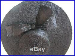 Lilly Dache Bonwit Teller Huge Wide Brim Portrait Hat Black Raffia Straw Paris