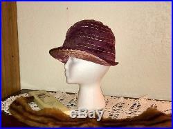 Lot 2 Silk Antique Cloche Hats Needs TLC Antique Millinery Peach Purple