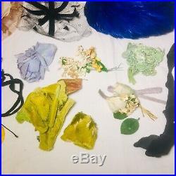 Lot 40s 50s Vintage Womens Dress Hats Net Veils Flowers Feathers Rhinestone Mask