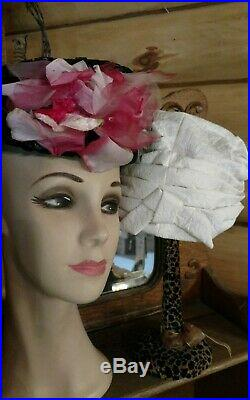 Lot Of 25 Vintage Ladies Hats Net Flowers Ribbon Feather veil church costumes