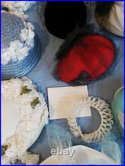 Lot Of 52 Vintage Ladies Hats Christian Dior Felt Fur Feathers Flowers Velvet