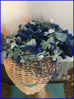 Lot Vintage Hats Millinery Flowers Netting Silk Satin Velvet Pillbox Bows Rare
