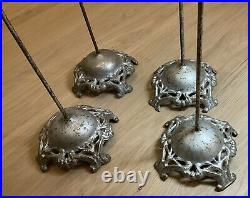 Lot of 4 Antique Victorian Cast Iron Hat Stand Holder Millinery Display Fashion