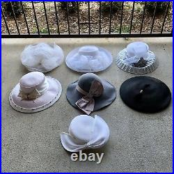 Lot of 7 Hats Vintage Womens Theater Props Church Costume Netting Bows Wholesale