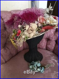Lovely Antique Ladies Straw Hat Covered In Millinery Flowers And Feathers