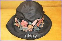 Lovely Vintage 20's Wide Brim CLOCHE Hat Straw and Silk withApplied Silk Flowers