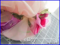Lovely Vintage Christian Dior Ladies Hat In Soft Pink Netting Millinery Flowers