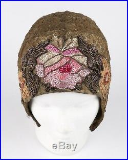 MANNHEIMER c. 1920's Gold Lace Floral Glass Bead Sequin Helmut Flapper Cloche Hat