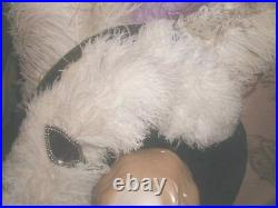 MASSIVE 1903 Antique Mae West Platter HAT w Huge Purple & Cream Ostrich Plumes