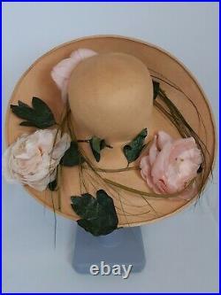 Madame Paulette wide brim hat Harrods vintage hat & box straw roses 55cm UK6 3/4