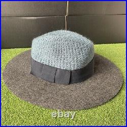 Maison Michel Bettina Wool Woven Hat Variegated Grey w Black Grey Teal Wms