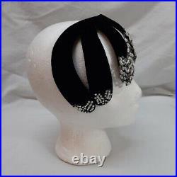Marie Madix Flapper Skull Cap Headband Black Velvet Rhinestone Glass Beaded VTG