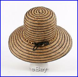 Miss Dior by CHRISTIAN DIOR c. 1960s Black Gold Woven Straw Bow Chain Sun Hat