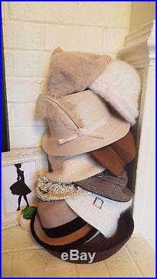 Mixed Lot of 10 Vintage Mod Women's Fashion Winter Wool Fur KANGOL BETMAR Hats