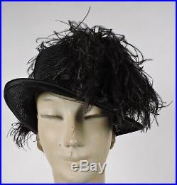 Mme Georgette Paris Edwardian Black Straw Hat W Ostrich Plume Trims