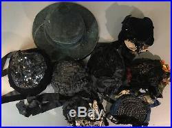 Museum Lot Of 10 Antique Hats Victorian Edwardian 1920s Vintage Hat Lot