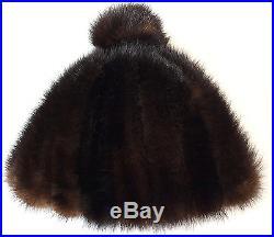 Mütze Nerz Damen Pelz Hut Bommel Mink Hat Pelzhut Pelzmütze Vintage Dk. Braun