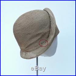 NEVER USED 1920s VINTAGE Beige Strip Straw CLOCHE Flapper Hat AUTHENTIC