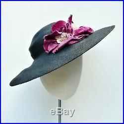NEVER USED 1930s Vintage Wide Brim Black Straw Pancake Hat Pink Flower AUTHENTIC