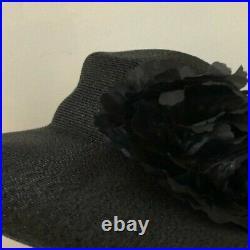 NEW Never worn Vintage Patricia Underwood Black Straw Silk Flower Wide Brim Hat