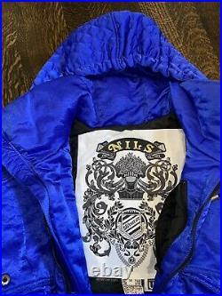 NILS One Piece SNOW SUIT Apres Ski Bunny Bib Snowsuit vtg onsie Womens 10 with HAT