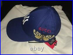 NWT Gucci NY Yankees Cap With Butterfly Embroidery Blue U Size 57-61 cm